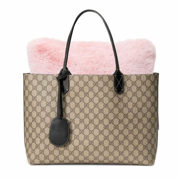Large pink faux fur Purse Pillow designer tote bags