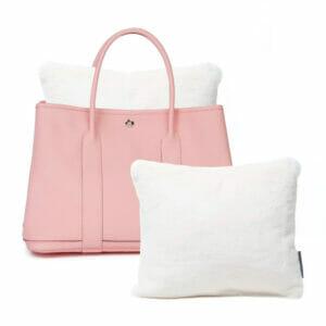 Medium white faux fur designer handbag cushion pillow hermes garden party bag