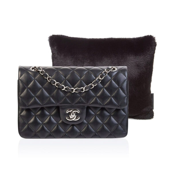 Small black faux fur Purse Pillow Chanel classic flap image