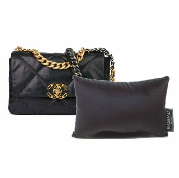 Small black velvet bag purse pillow storage cushion Chanel 19 bag