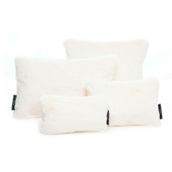 White faux fur set of four bag Purse Pillow