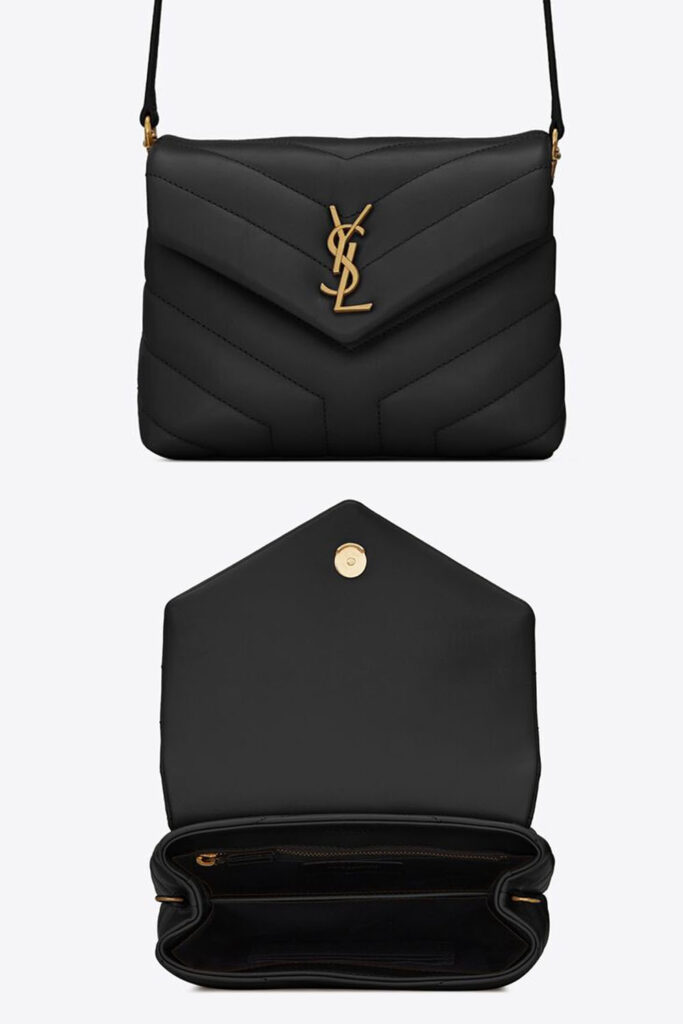 Saint laurent loulou toy bag matelasse leather black and gold
