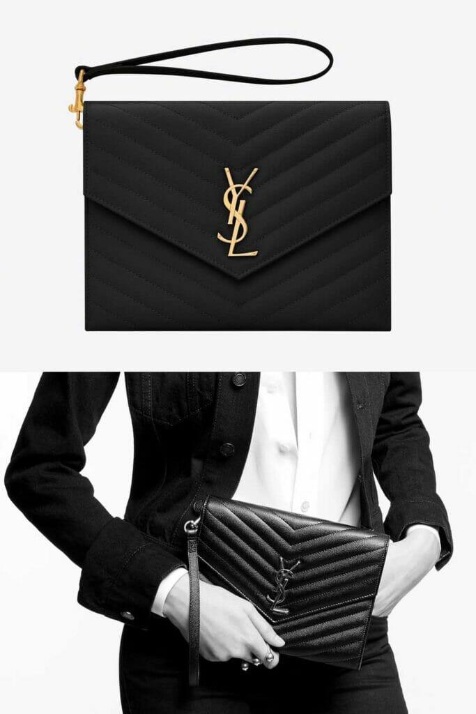 Saint Laurent quilted cassandre clutch bag black