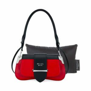 extra small black velvet bag Purse Pillow with Prada bag