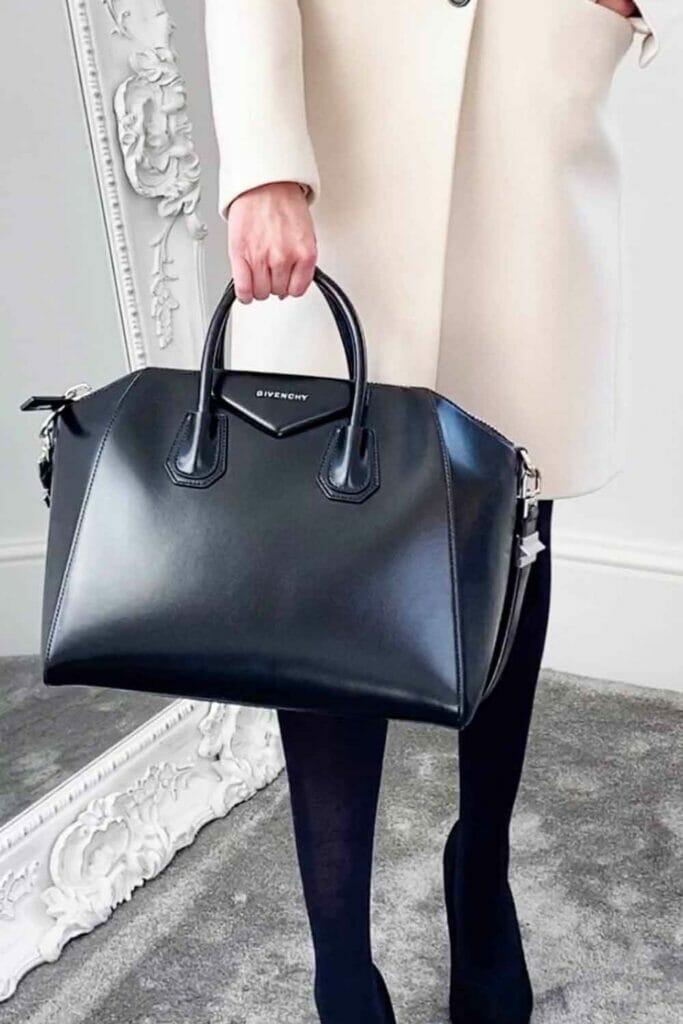 Givenchy antigona medium black smooth leather bag